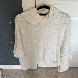 Fuzzy cream turtle neck sweater